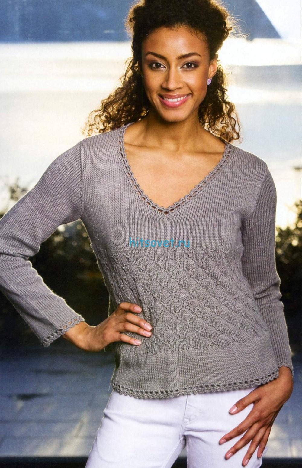 Серый вязаный пуловер, фото 2.