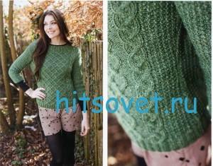Вязание пуловера с решетчатым узором, фото 2.