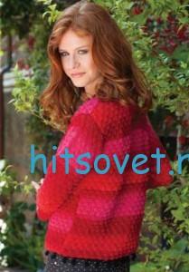 Малиновый пуловер крючком, фото 2.