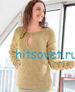 Вязание пуловера из ленточной пряжи с люрексом, фото 2.