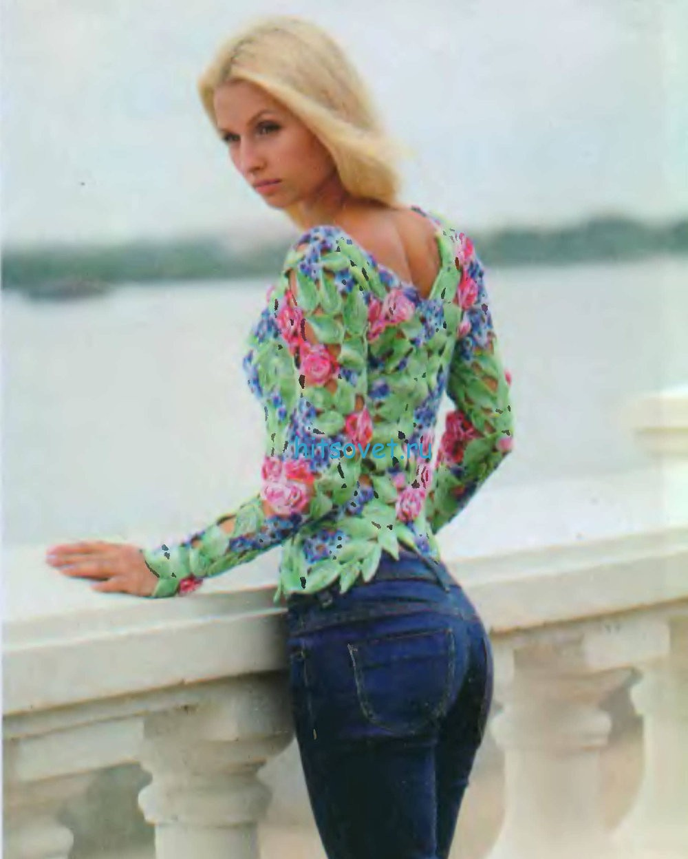 Цветочный пуловер крючком схемы, фото 2.