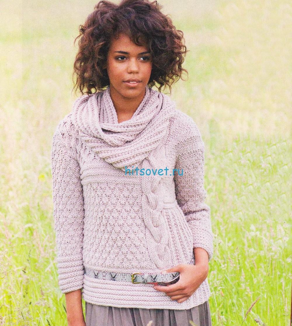 Вязаный пуловер и шарф петля