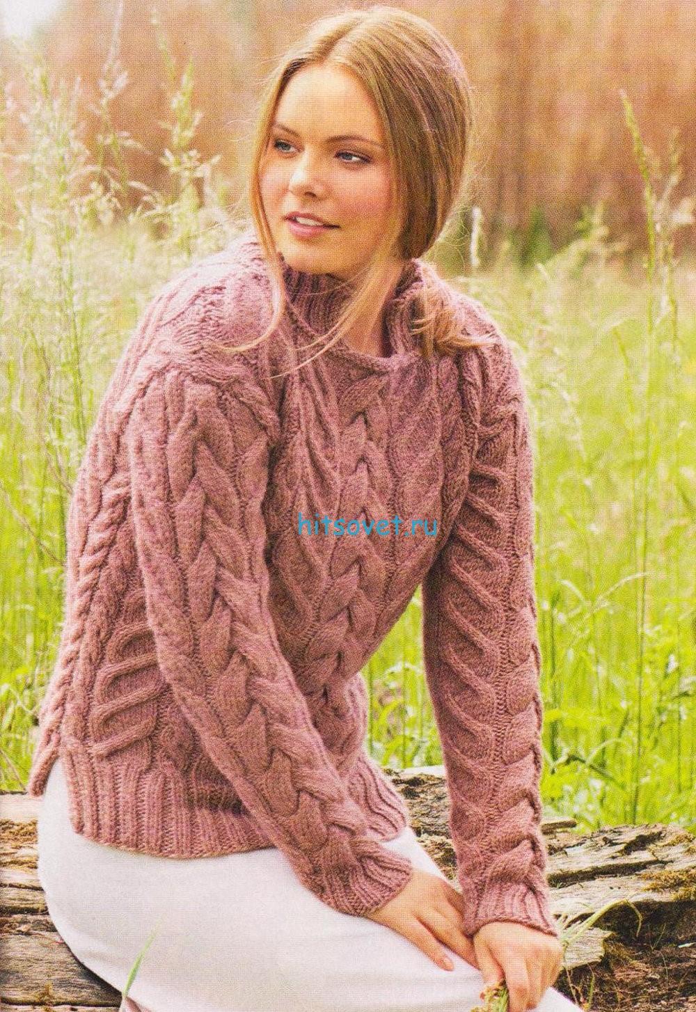 Вязание пуловер с косами, фото.
