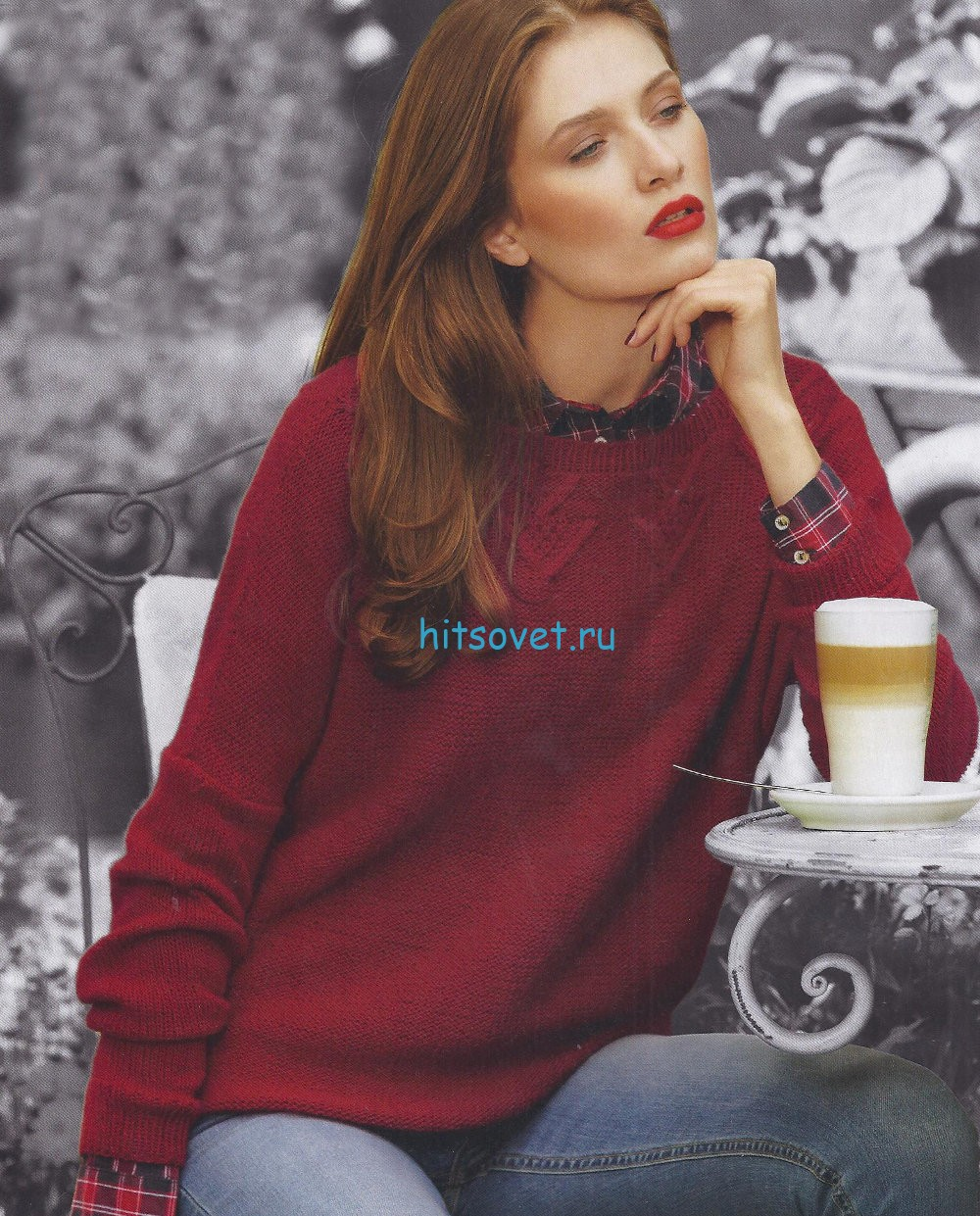 Вязание пуловера с мотивом клубника