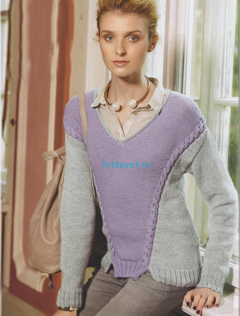 Двухцветный пуловер спицами