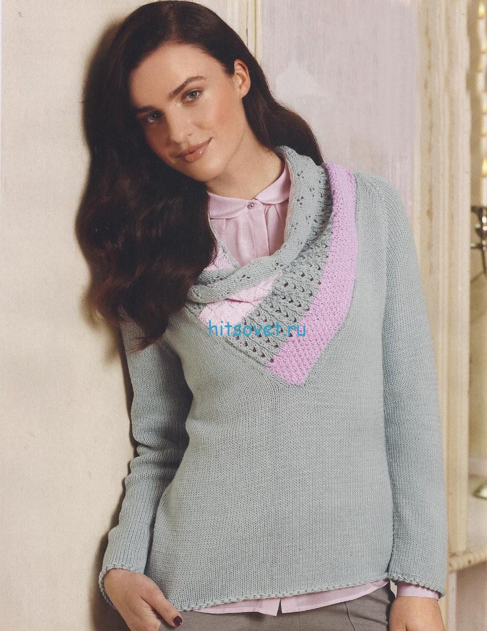 Женский пуловер спицами с ажуром