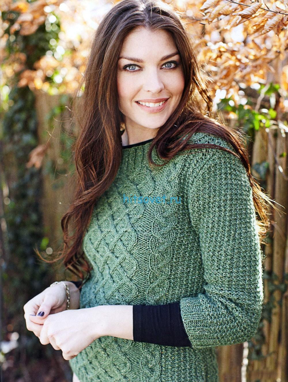 Вязание пуловера с решетчатым узором
