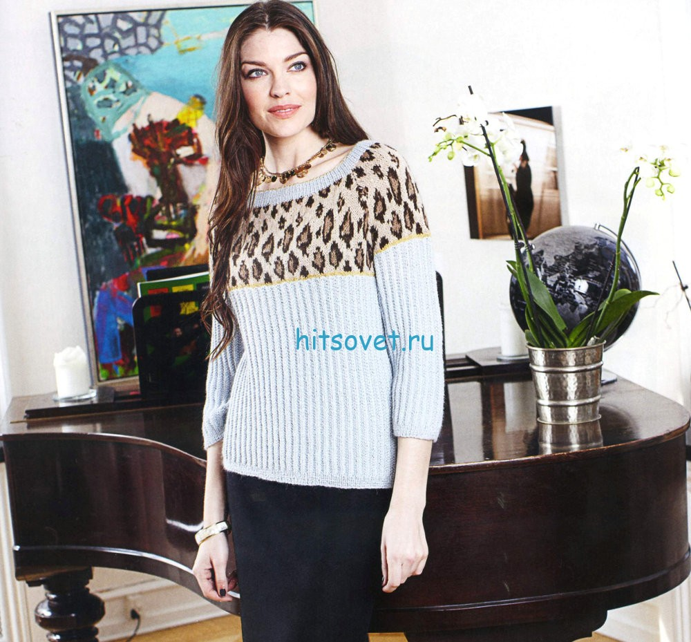 Вязание пуловера с леопардовым узором