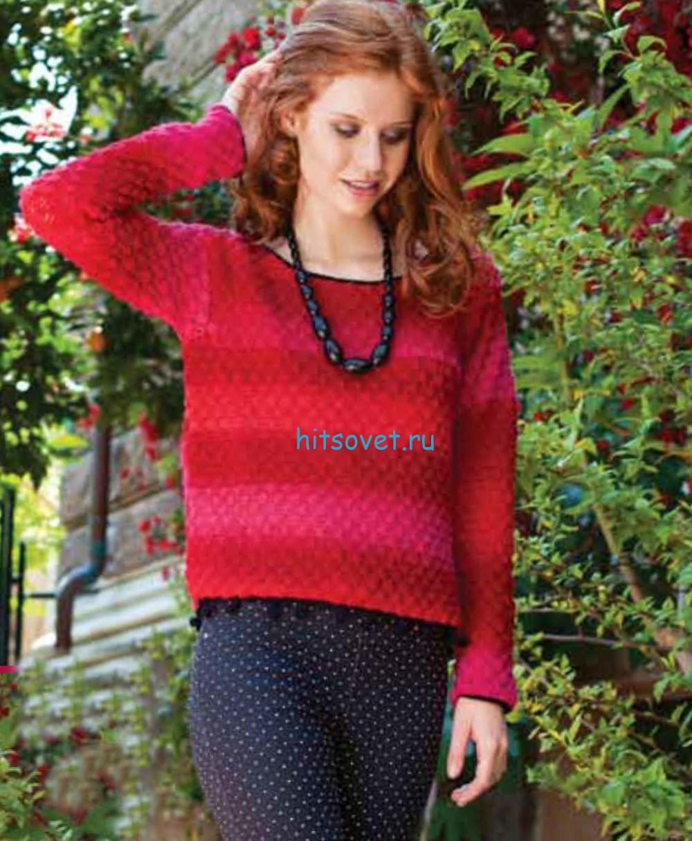 Малиновый пуловер крючком