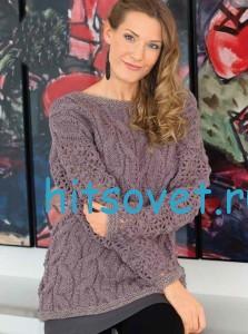 Вязание пуловера с косами из пряжи Alta Moda Cashmere