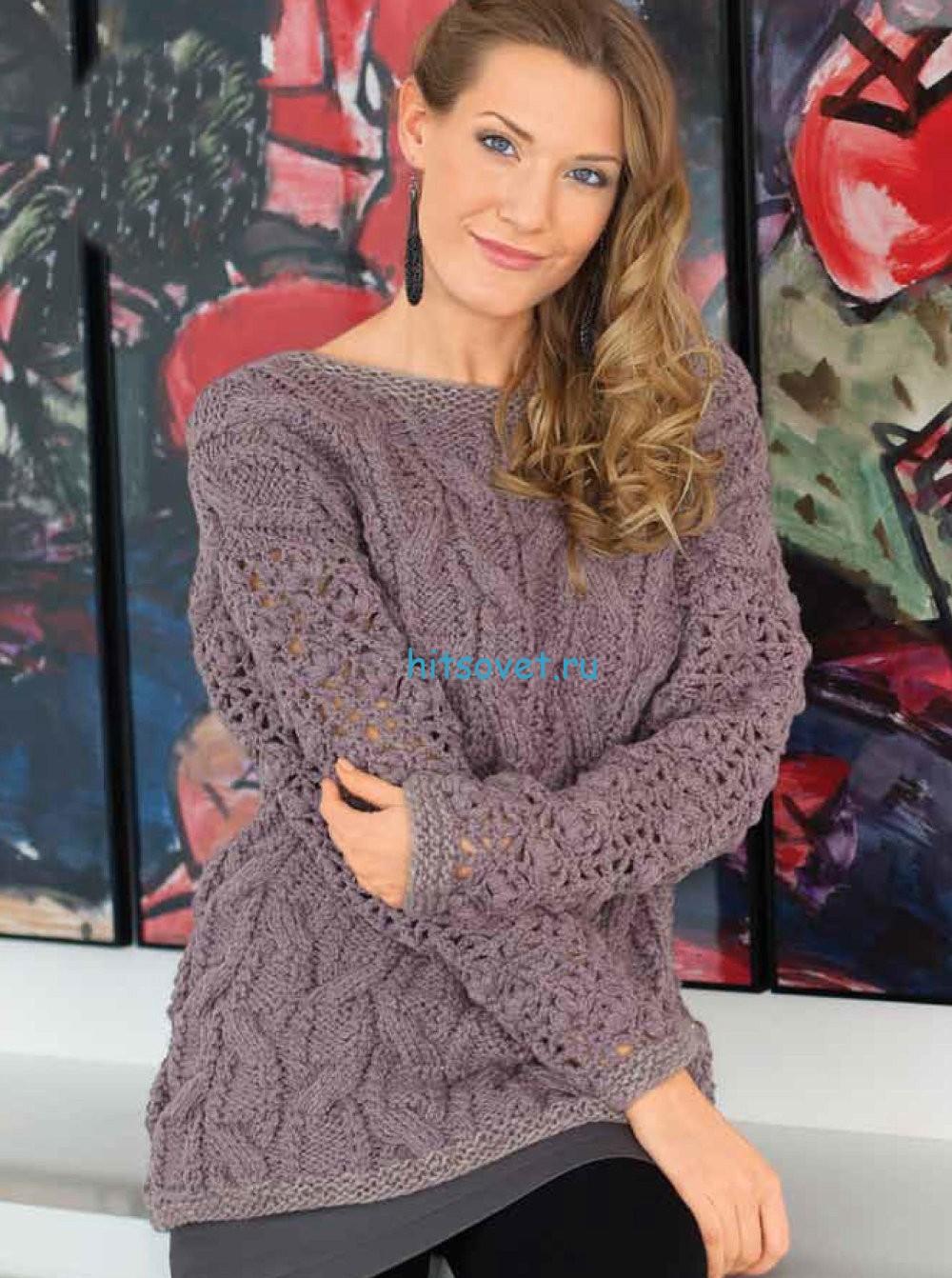 Вязание пуловера с рельефными косами