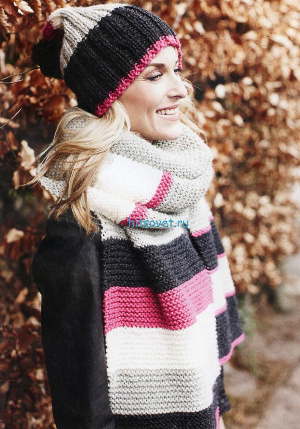 Вязание шапки и шарфа спицами, фото 1.