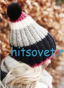 Вязание шапки и шарфа спицами, фото 2.