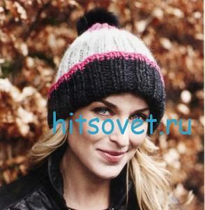 Вязание шапки и шарфа спицами, фото 3.