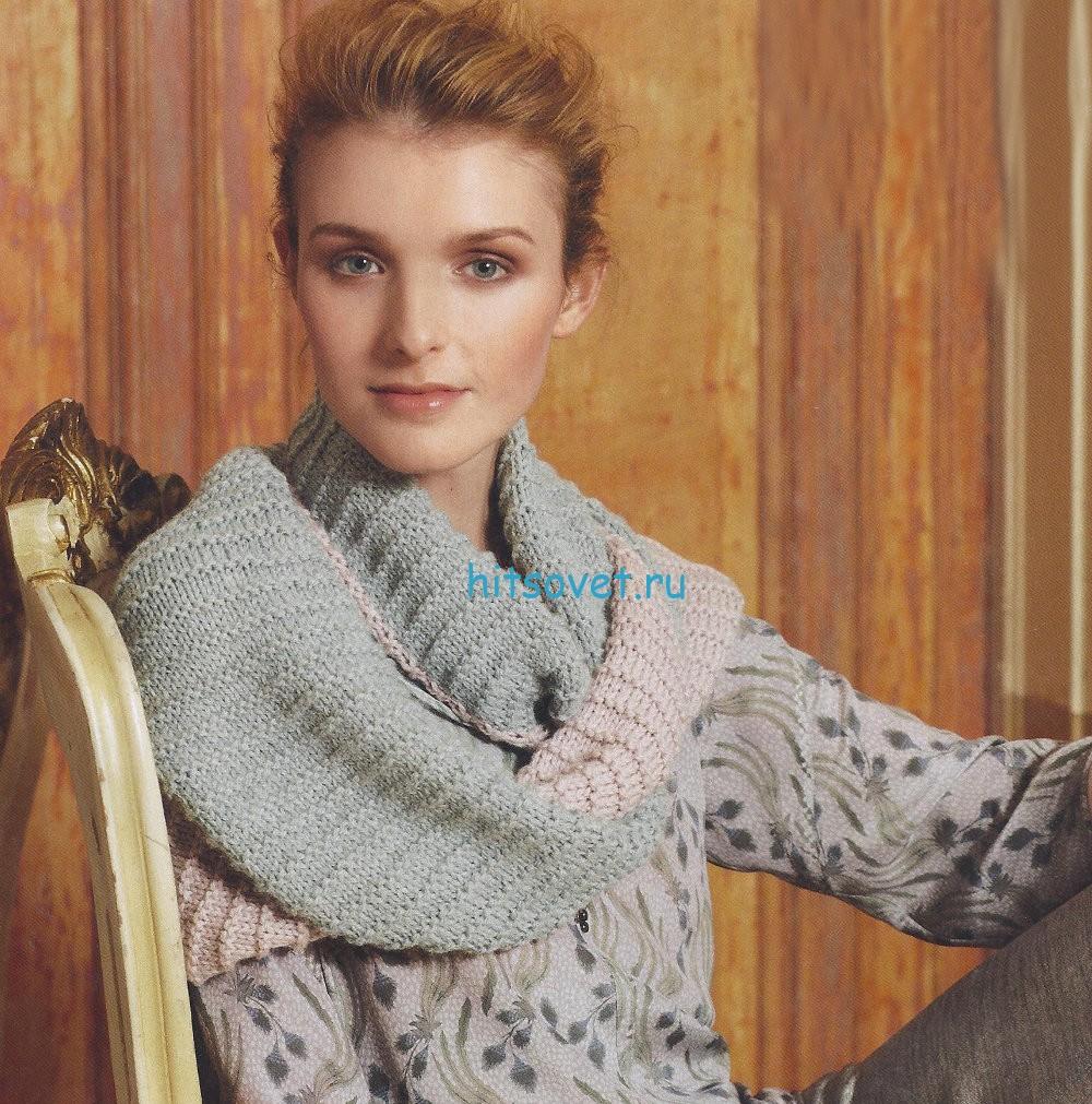 Двухцветный шарф спицами, фото.