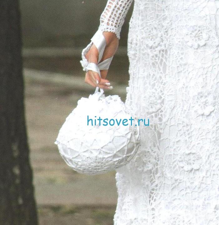 Свадебная сумочка и перчатки крючком, фото 2.