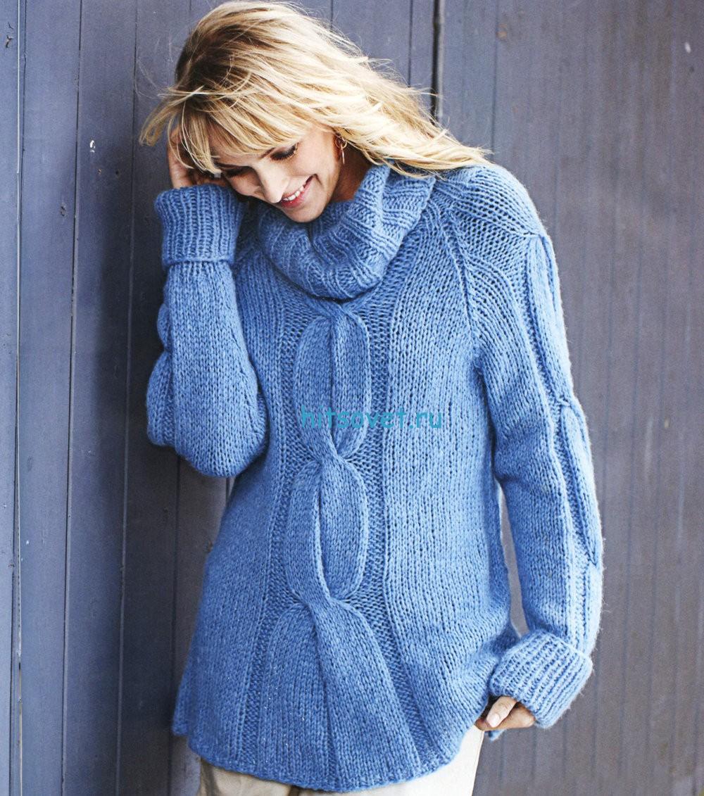 Вязание свитера с косами, фото.