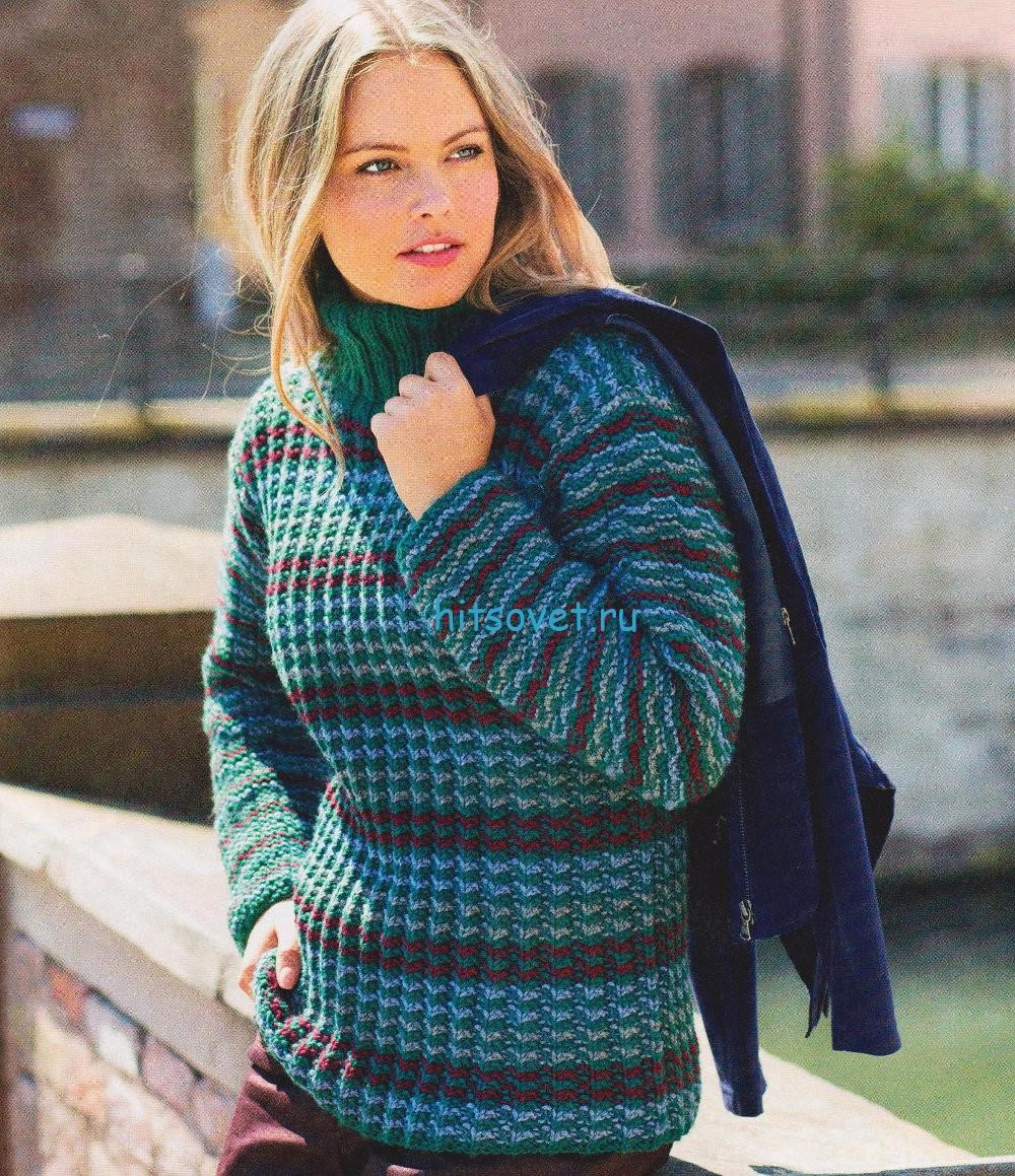 Полосатый свитер спицами, фото.