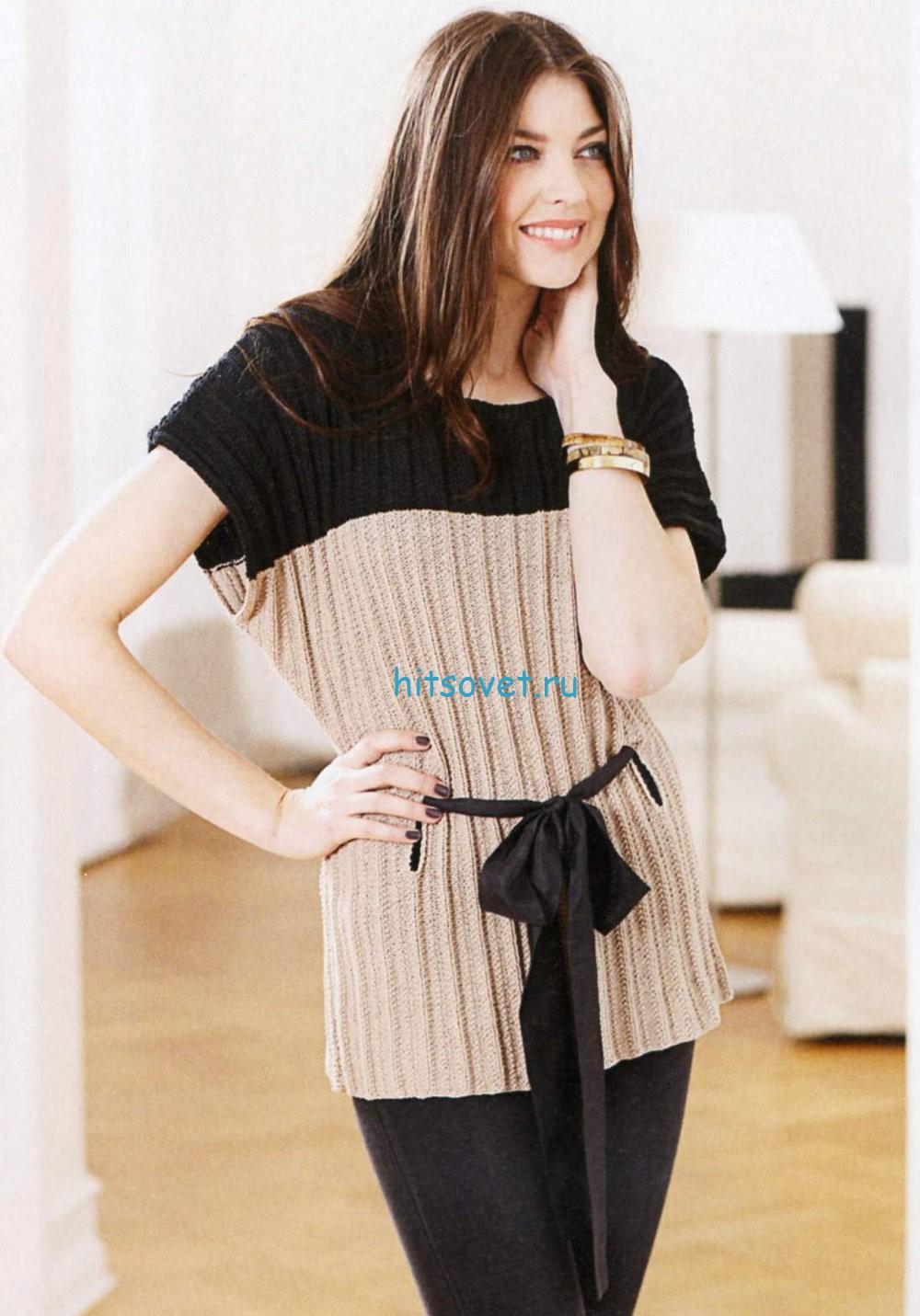 Вязание свободной туники с поясом, фото.