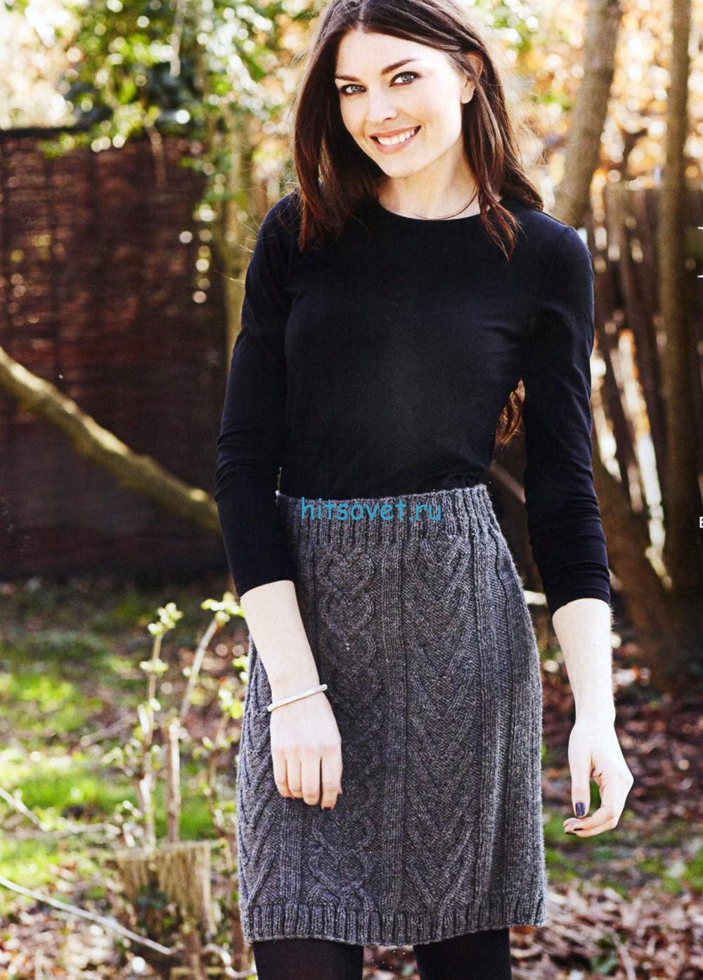 Вязание юбки с узором из кос