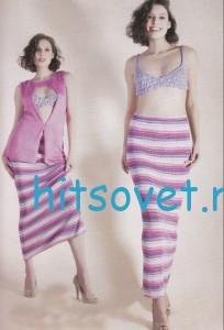Вязание юбки спицами в полоску