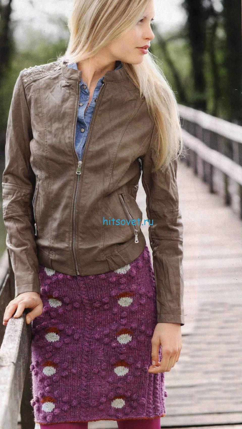Вязание юбки с вышивкой