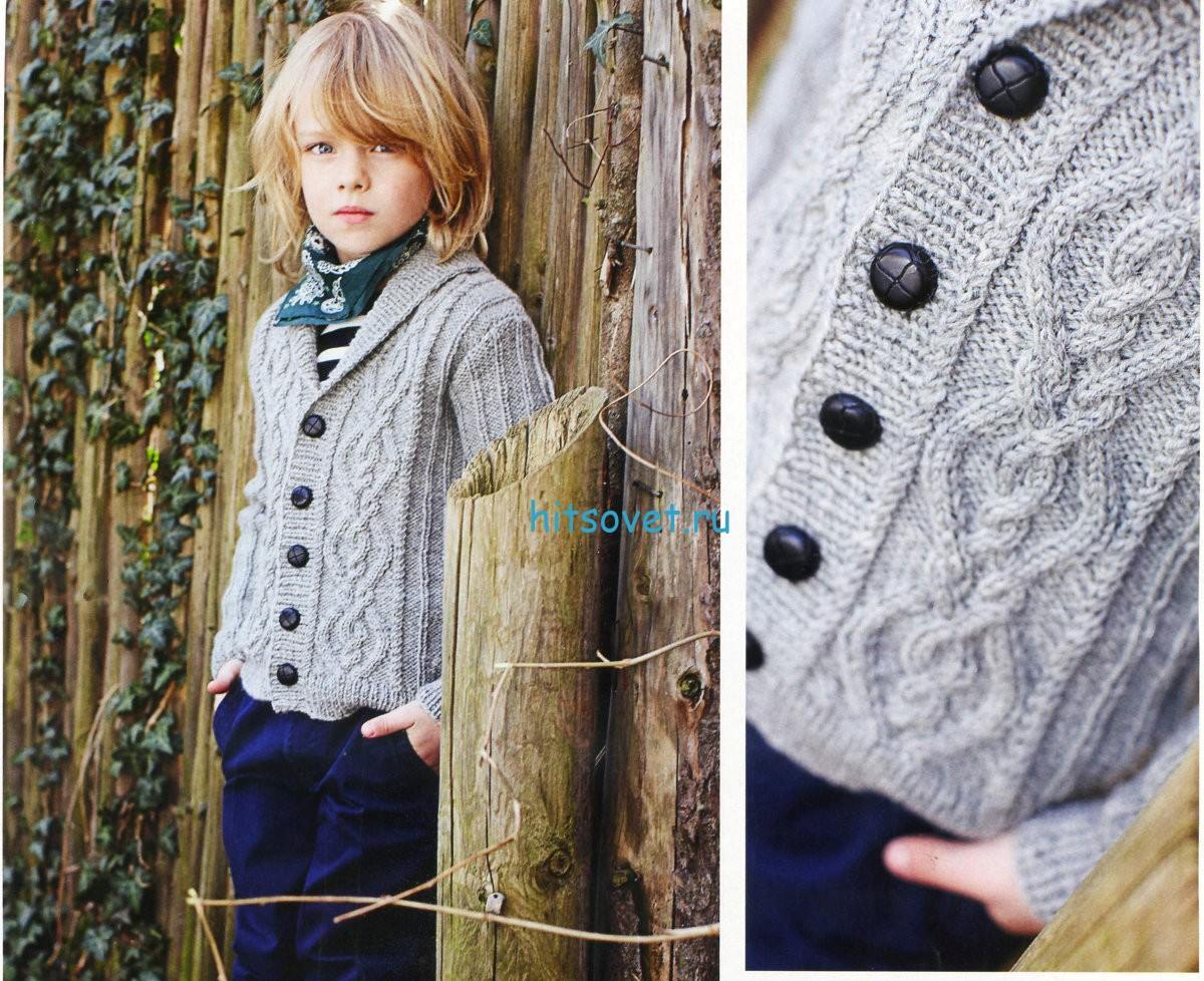 Вязание спицами детского свитера на мальчика 251