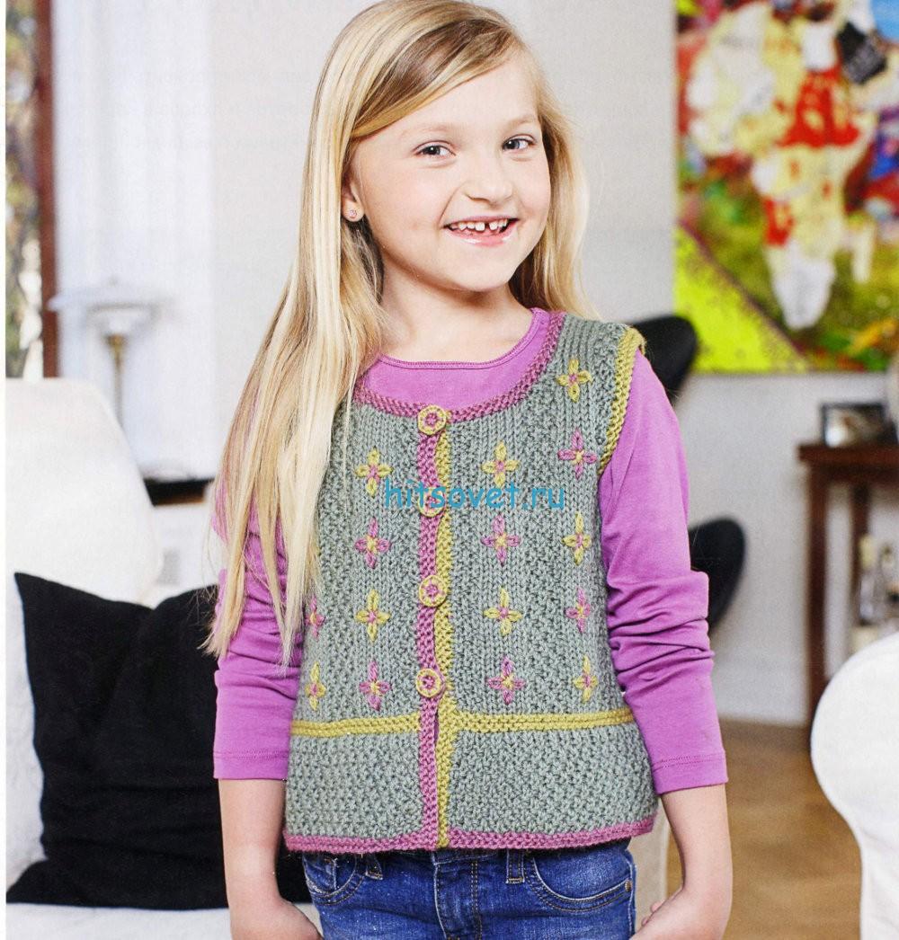 Вязание для девочек жилета