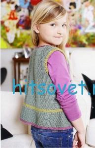 Вязание для девочек жилета, фото 2.