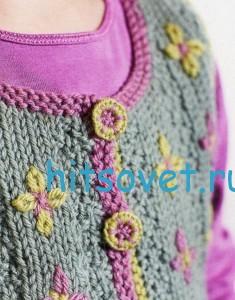 Вязание для девочек жилета, фото 3.