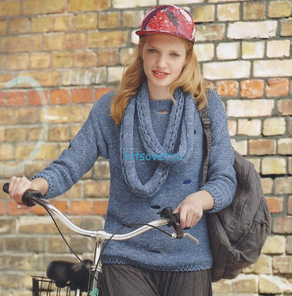 Женский пуловер с узким снудом