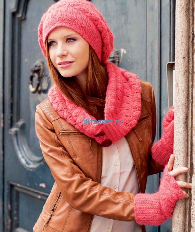 Вязаная шапка шарф и митенки крючком