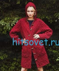 Вязаное пальто с капюшоном, фото 2.