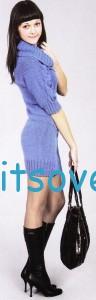 Синее платье спицами, фото 2.