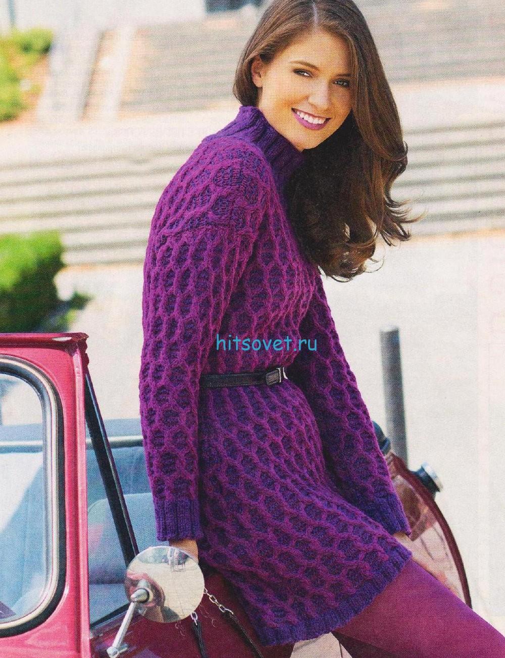 Двухцветное платье спицами
