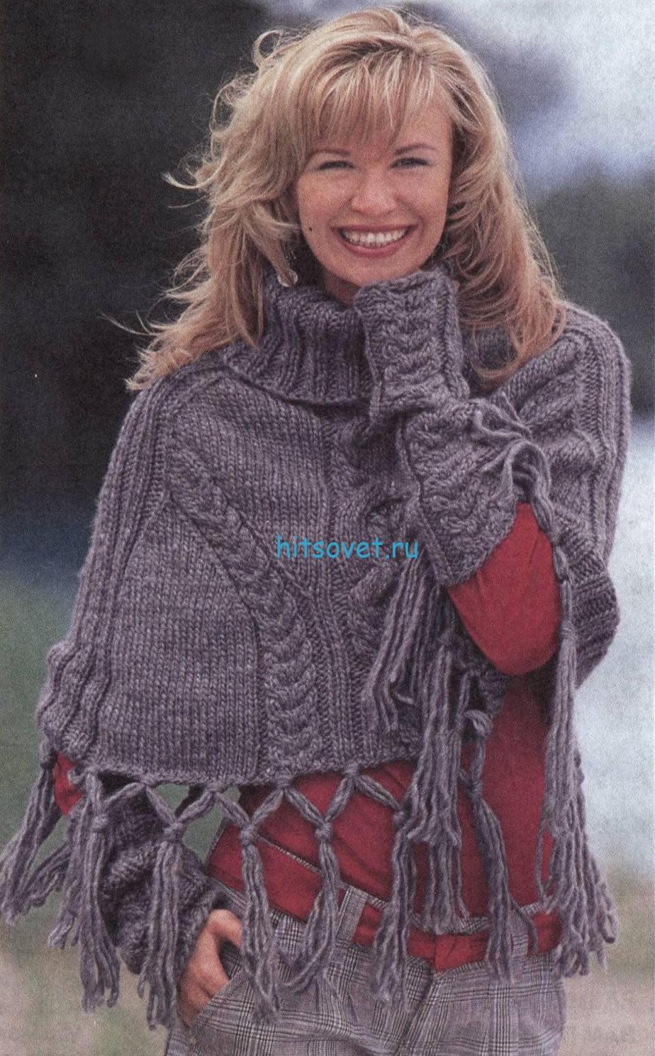Вязаное пончо и митенки спицами