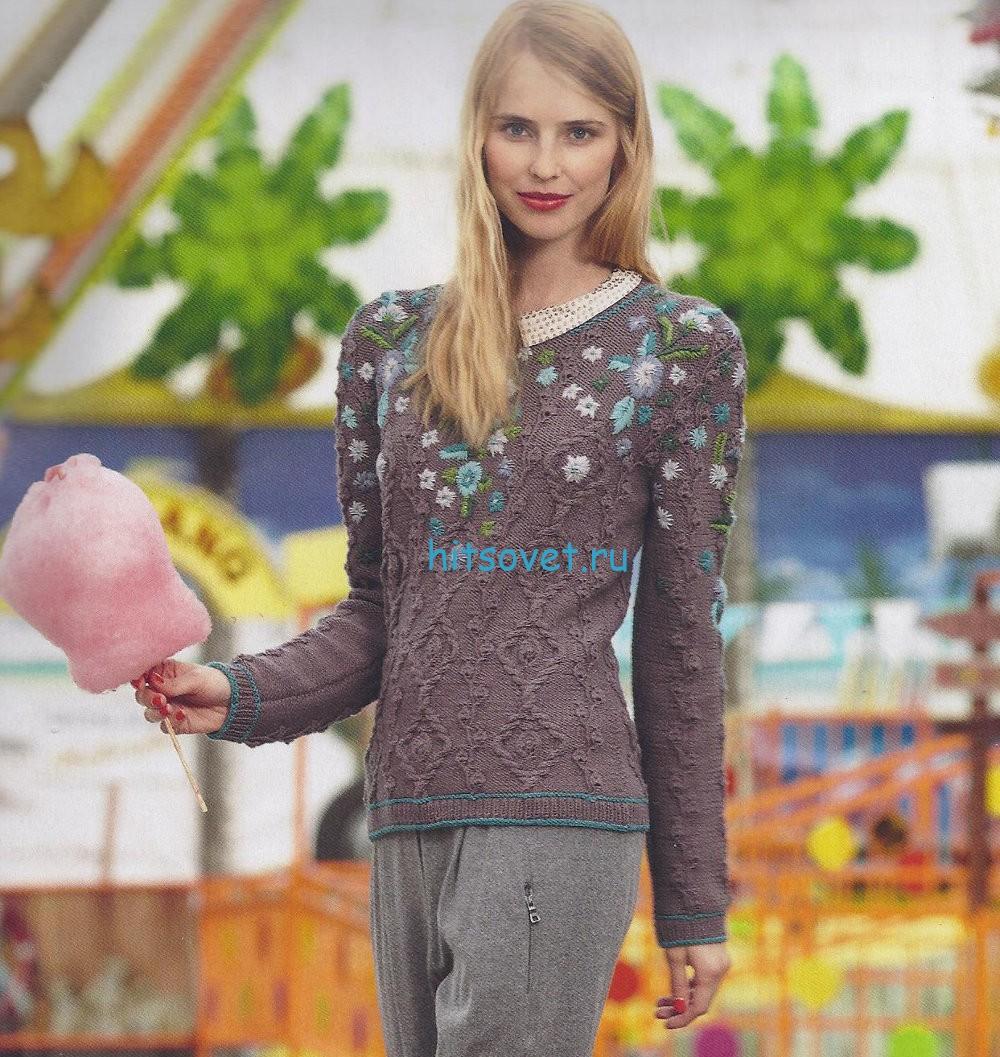 Вязание пуловера с вышивкой