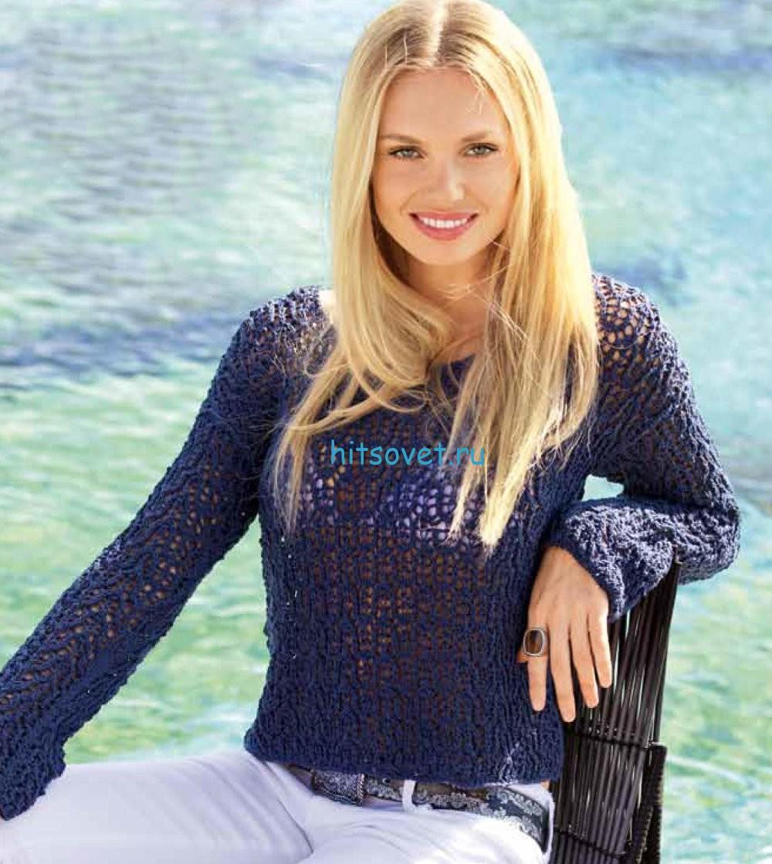 Ажурный вязаный пуловер для девушки