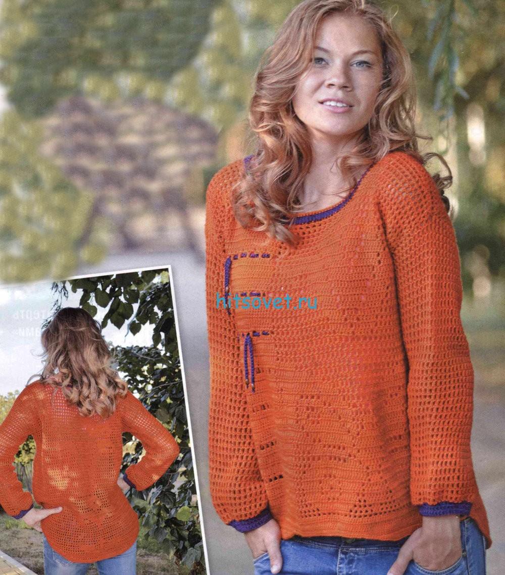 Оранжевый пуловер крючком