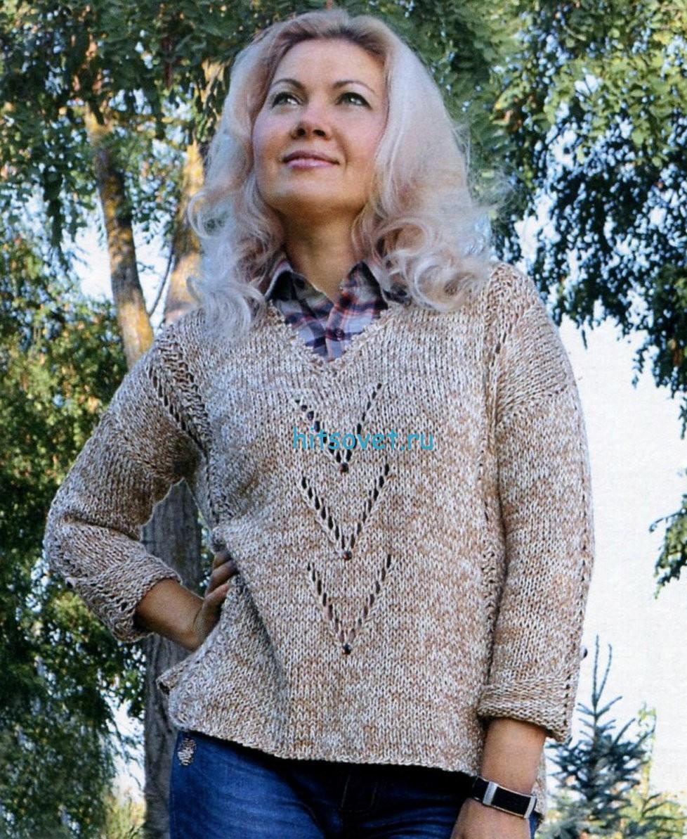 Вязание свободного женского пуловера, фото.
