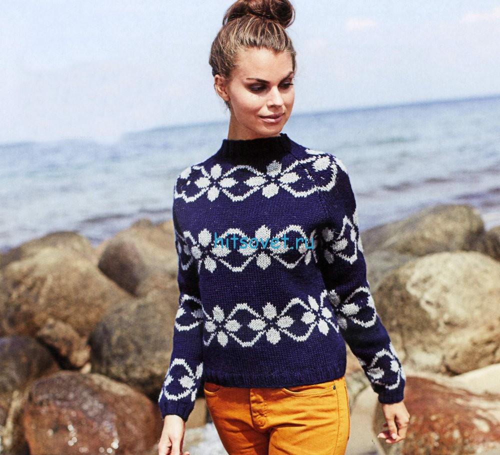 Пуловер с жаккардовым узором