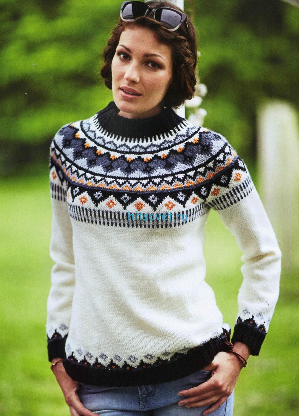 Вязание модного пуловера с круглой кокеткой
