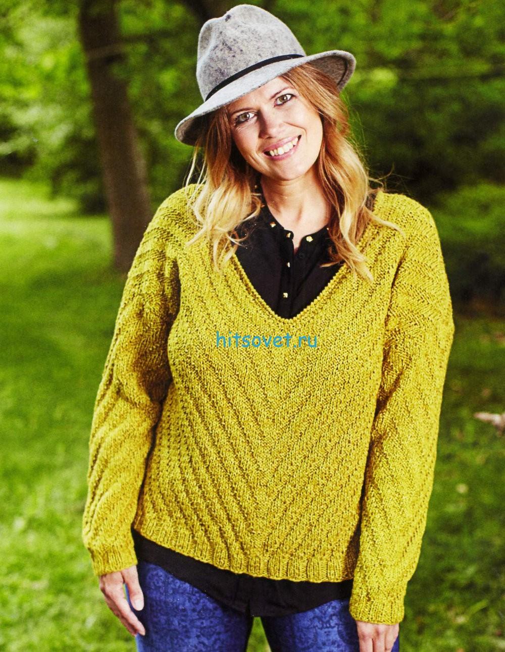 Вязание пуловера рельефным узором