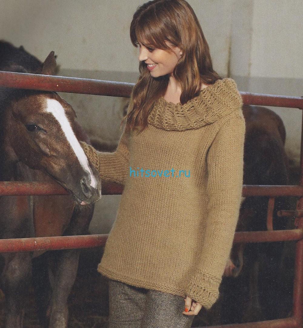 Женский пуловер с воротником хомут