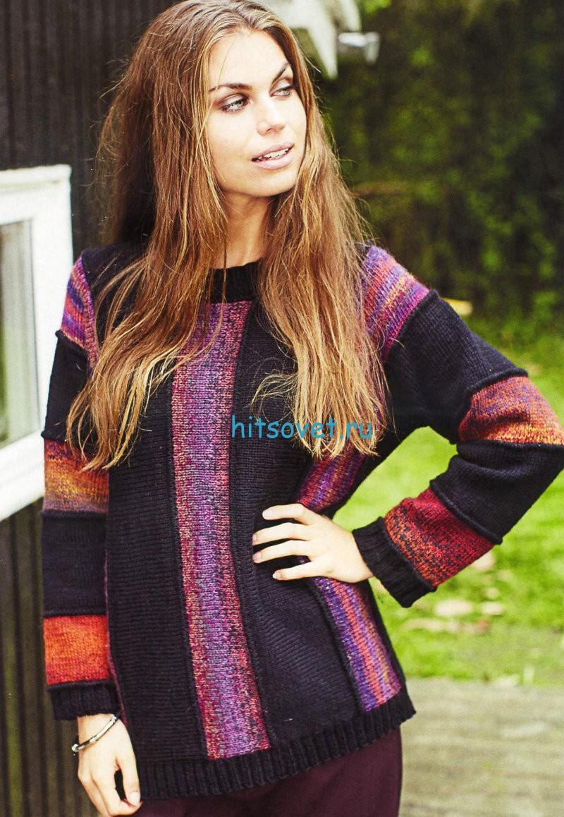 Вязание пуловера единым полотном