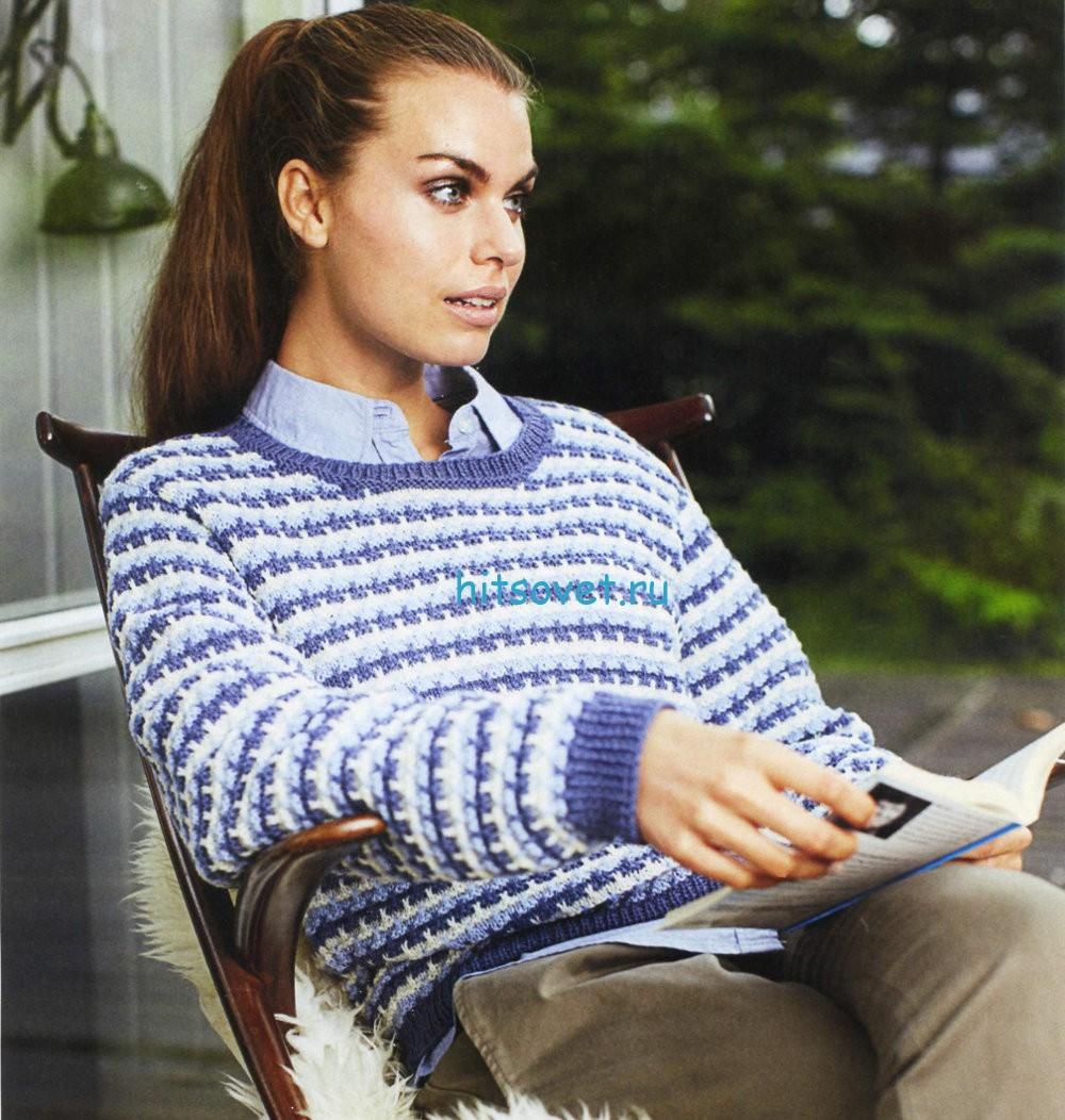 Трехцветный полосатый пуловер спицами