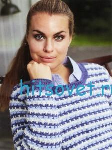 Трехцветный полосатый пуловер спицами, фото 2.