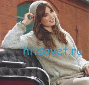 Вязание пуловера с капюшоном мелким узором