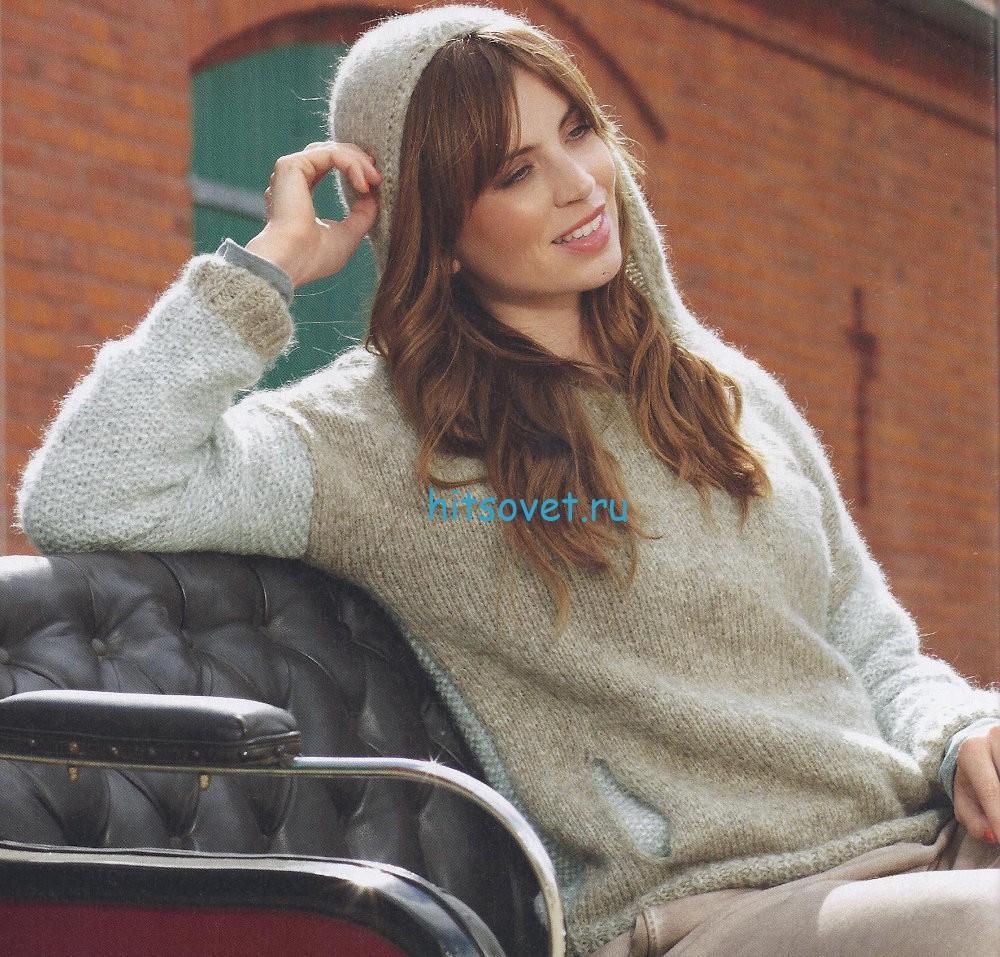 Молодежный пуловер с капюшоном