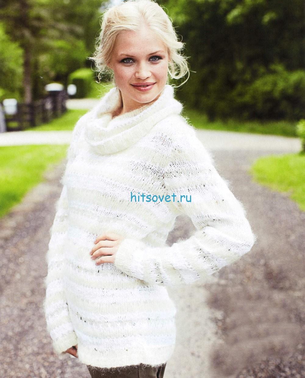 Вязание пуловера с рельефными полосками